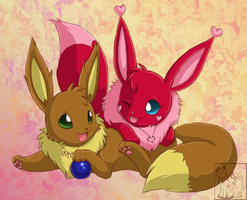 Playful Eevees by blackpersian