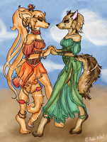 Dancing Ladies - coloured version by Aldric-Cheylan