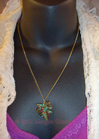 Beaded Wire Wrapped Leaf Neckl by MorganCrone