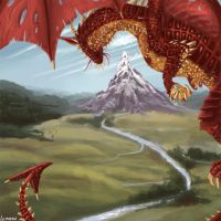 Smaug and the Lonely Mountain by lcmattson