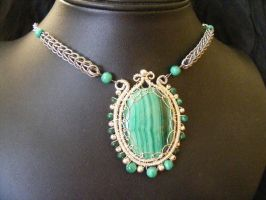 Malachite Medallion Necklace by BacktoEarthCreations