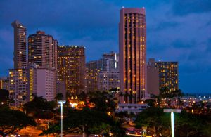 Downtown Honolulu at sunset by Robby-Robert