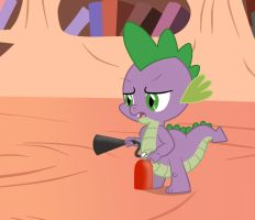 Spike, in the Library, with a Fire extinguisher by Birdco