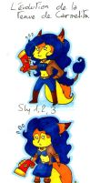 The Evolution of Carmelita's outfit? by JennissyCooper