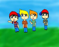 Ninten, Lucas, Claus and Ness :3 by Anime-Gamer-Girl