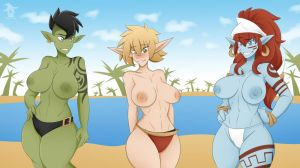 Warcraft Girls Beach Pinup Combined by Obhan