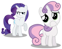 Sweetie Belle puppy face incl. Rarity by LikeMike213