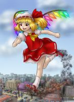 Flandre runs in the street by AlloyRabbit