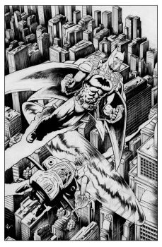 Batman and Joker Over Gotham Inks by masstard