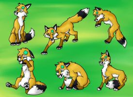 Patch The Fox Poses by EvilAmishWerewolf