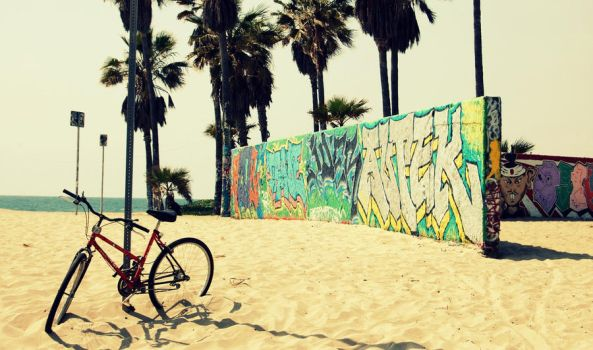 beach and bicycle by eleyaq