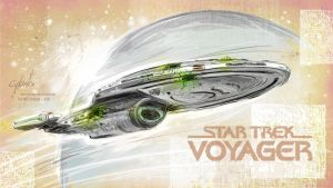 USS Voyager with BORG patches by cylonka