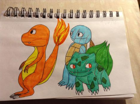 Charmander,squirtle and bulbasaur by summeryaoguai