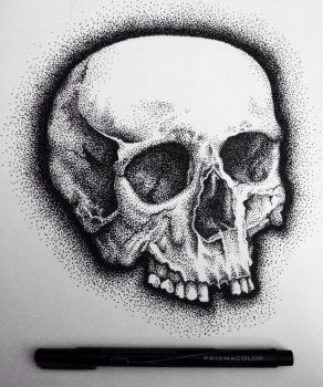 Pointillism skull by adrizzy