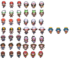 All Pokemon Hero's and Heroines sprites BW by emomage101