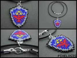 Handmade Seed Bead Hylian Shield Necklace by Pixelosis