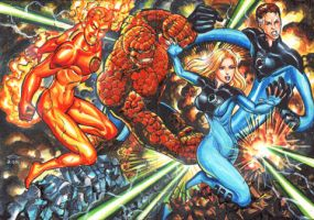 FANTASTIC FOUR SKETCH CARD PUZZLE COMMISSION by AHochrein2010
