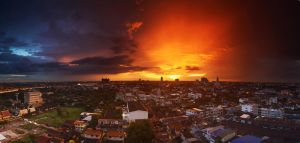 Balcony Sunset Panorama 4 by comsic