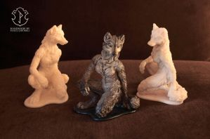 Anthro female wolf sculpture (group photo) by Victoria-Poloniae