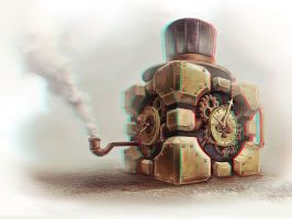 Steampunk Cube 3-D conversion by MVRamsey