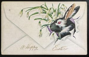 Vintage Easter Postcard - Rabbit and Snowdrops by KarRedRoses