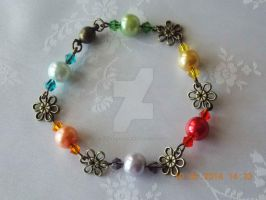 Pearl and bronze flower bracelet by Quested-Creations