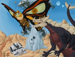 Not Godzilla vs Mothra - colored version by EricMHE
