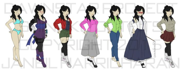 Dawnstar - Shinako Character Outfits by Blueoriontiger