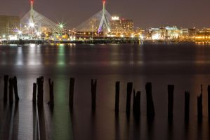 Zakim bridge at night by bjohnson0311