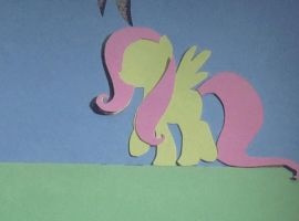 Paper Fluttershy Walking Loop (GIF) by vaser888
