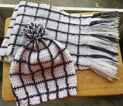 Natsu inspired scarf with matching Hat by Robin-Rose-Sama