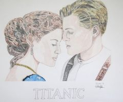Leonardo DiCaprio and Kate Winslet Titanic by Albertinez