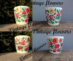 Flower pots, flower pot Vintage flowers by naraosart