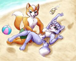 Fox+Krystal: tickles at the beach by shiroiwolf