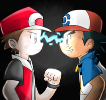 Modern Red Meets His Counterpart Present Ash! by AnimatorMX