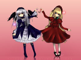 Suigintou and Shinku by Felynea