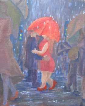 Rainy Day - Traditional Painting by mzmeenie