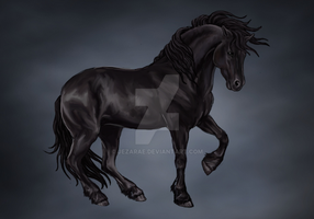 Friesian Horse by Jezarae