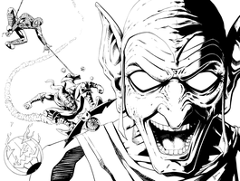Green Goblin and Webhead by kentarcher