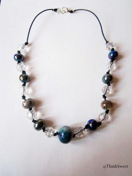 Necklace with colored beads and Swarovski crystals by ThinkSweet