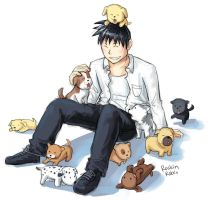 Roy + puppies by rockinrobin