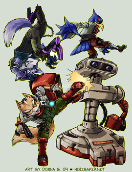 SSBBrawl: Fox Team by karniz