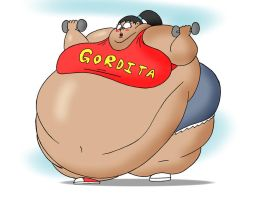 COM Obese Hispanic fitness lady works out harder by Robot001