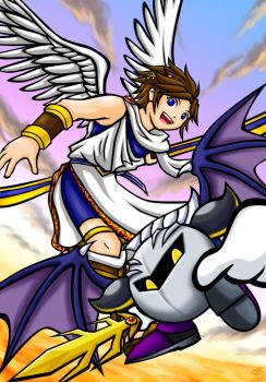 Pit and Metaknight by maruringo