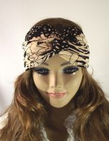 BLACK BEIGE Boho Turban Twist Headband Head Scarf by LiliaVanini