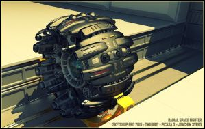 Radial Space Fighter by Scifiwarships