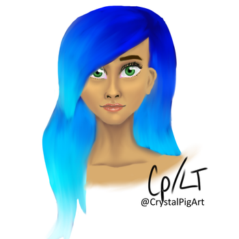 Blue haired girl by CrystalPigArt