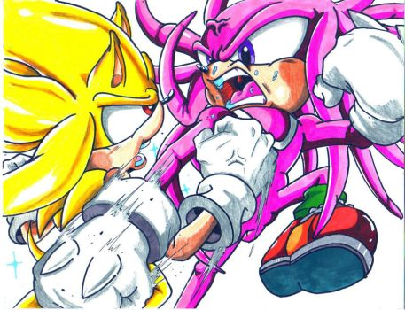 super sonic vs hyper knuckles by trunks24