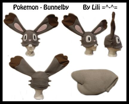 6th Gen - Bunnelby Hat and Tail by LiliNeko