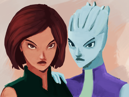 Shepard and Liara by shaneneville